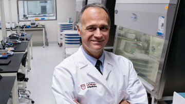 Michael Bishop, MD, in cellular therapy laboratory