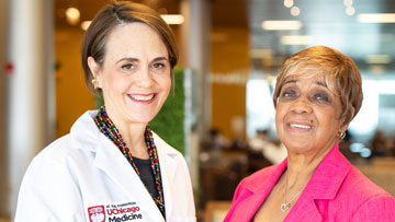 Thoracic surgeon Jessica Donington, MD, and lung cancer survivor Marilyn Nesby