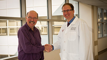 Mark Morrison, islet transplant patient, with his physician, Piotr Witkowski, MD