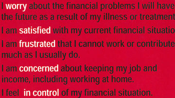 Snippet of financial toxicity questions