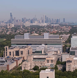 UChicago Medicine campus with Chicago skyline in the horizon