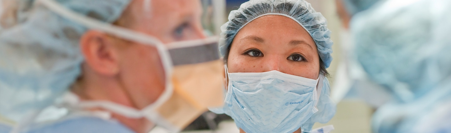 Close up of a healthcare worker wearing a mask