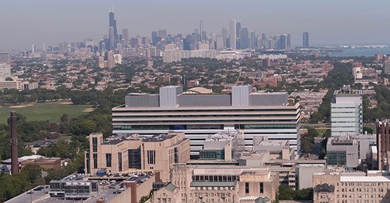 UChicago Medical campus with Chicago skyline in the background taken by drone on September 27, 2017.