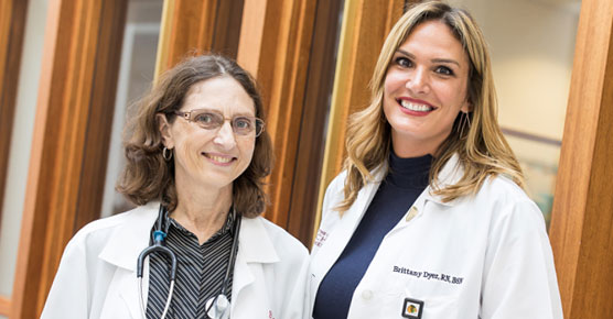 Gini Fleming, MD, and Brittany Dyer, RN, breast cancer
