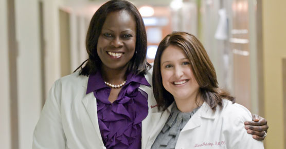 Olufunmilayo Olopade, MD, and nurse Tara Gehring, RN