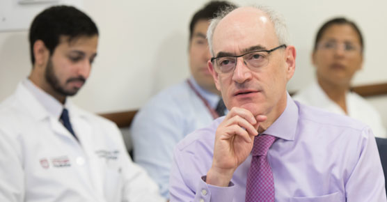Everett Vokes, MD, in lung cancer tumor board meeting