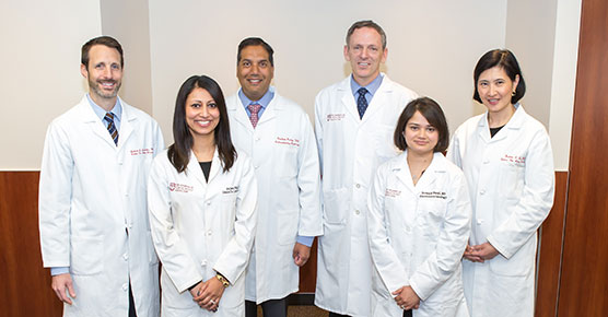 (L-R) Dr. Andrew Aronsohn, Dr. Anjana Pillai, Dr. K. Gautham Reddy, Dr. Michael R. Charlton, Dr. Sonali Paul, Dr. Helen Te. UChicago Medicine Hepatology Team group photo