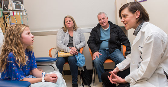 Dr. Hilary Jericho meets with Maeve O'Grady and her parents to talk about a test for Celiac Disease at Comer