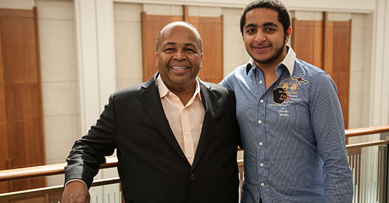 Ali Alkhamiri of Dubai, U.A.E. and his son visit University of Chicago for a check-up with his doctor