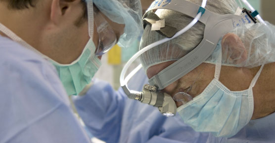 Thoracic surgeon Mark Ferguson, MD, in surgery
