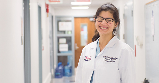 Lung transplant nurse Penny Viater, RN, at the 8 West nursing station of the Center for Care and Discovery