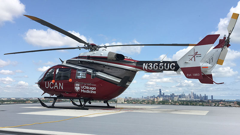 UChicago Aeromedical Network (UCAN) helicopter with a portable ECMO unit