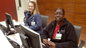 Check-in desk staff at Orland Park facility