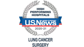 USNEWS lung cancer surgery high performance ranking, 2020-21