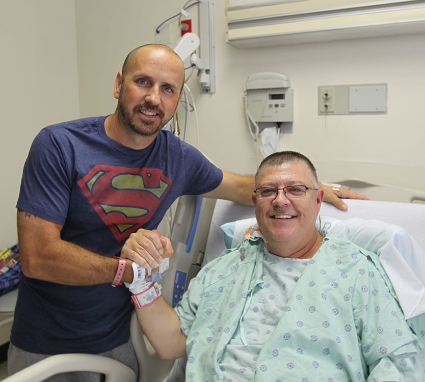 Stewart Botsford before his kidney transplant surgery with his kidney donor, Justin Maduena