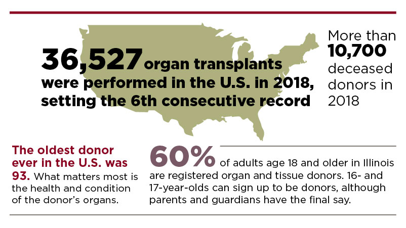 Infographic displaying statistics about organ donation