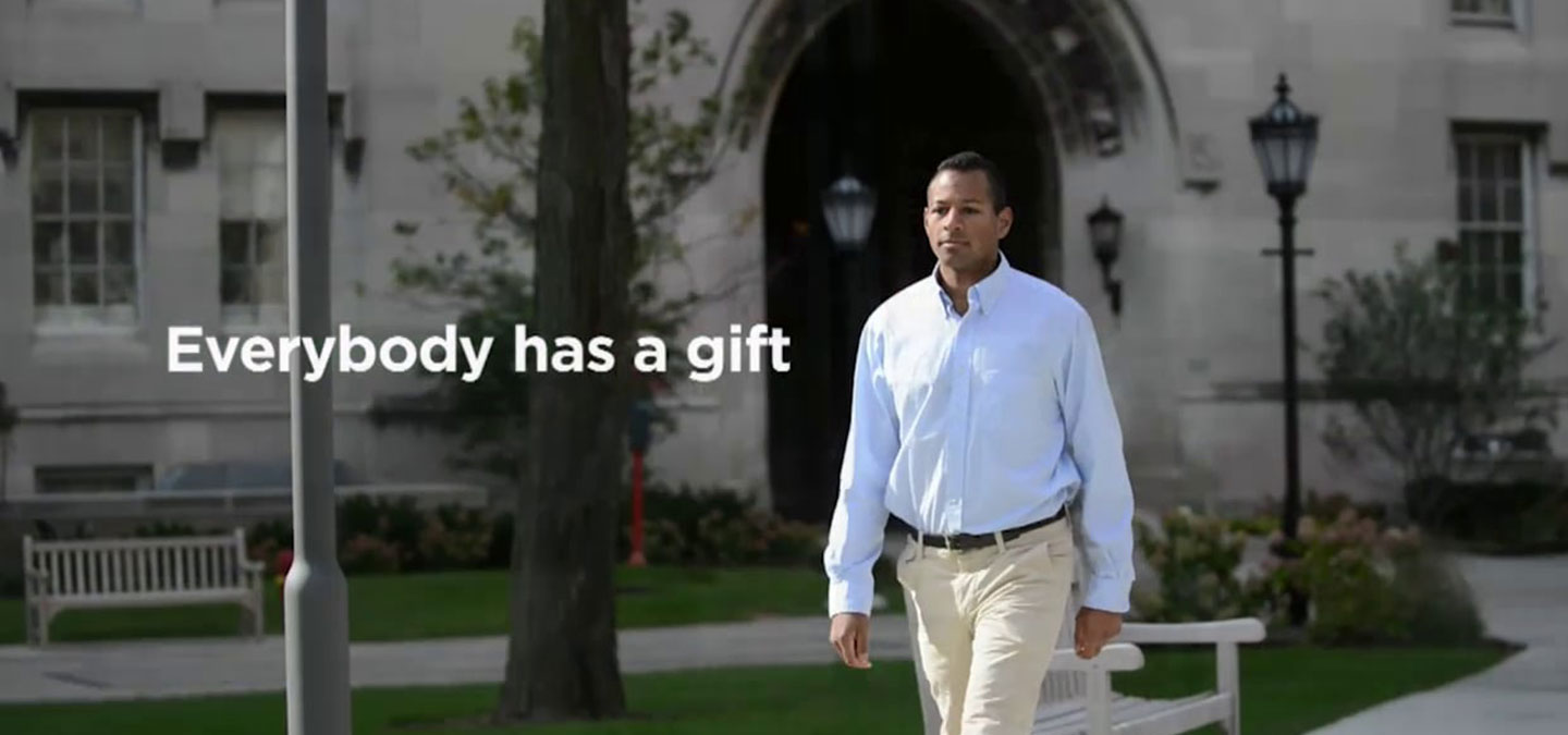 Philanthropy campaign video of man walking through University of Chicago campus