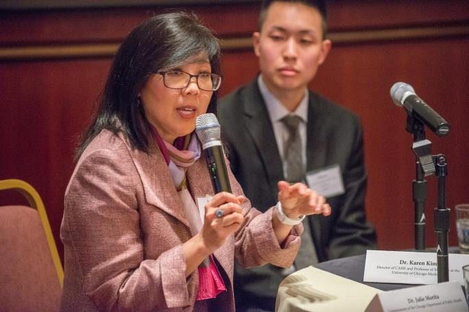 Karen Kim, MD, speaks at a panel discussion during the launch of the UChicago Medicine Center for Asian Health Equity in 2016